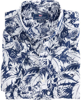 Vineyard Vines Short-Sleeve Tropical Print Slim Tucker Shirt