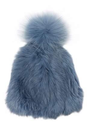 Yves Salomon Fur Knit Beanie Hat