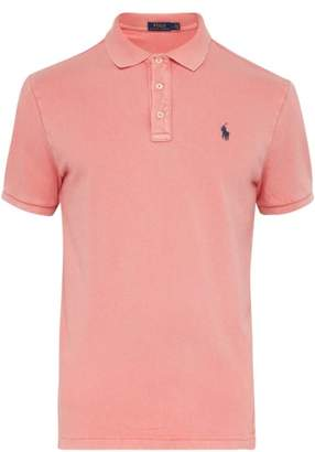 Polo Ralph Lauren Logo Embroidered Washed Cotton Jersey Polo Shirt - Mens - Red