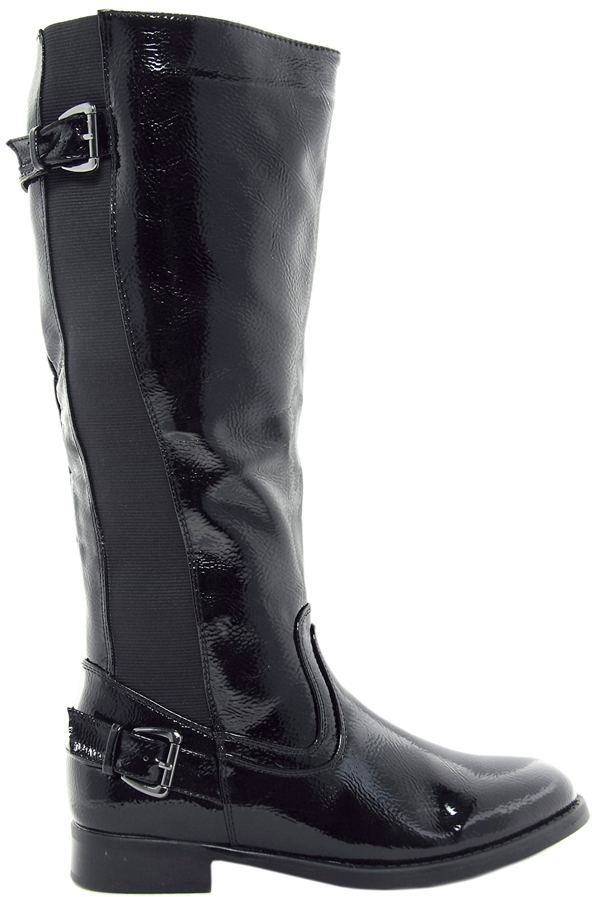 Timeless Patent Over Knee Boot - Black