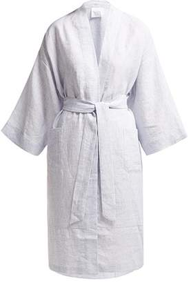 Loup Charmant Doha Belted Slubbed Linen Robe - Womens - Blue Multi