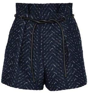 3.1 Phillip Lim Faux Leather-Trimmed Bouclé-Tweed Jacquard Shorts