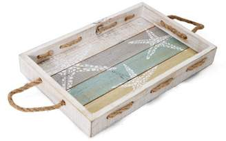 Element 16-Inch Rectangle Starfish Distressed Wood Tray