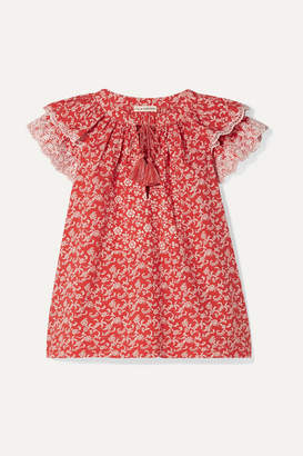 Ulla Johnson Elm Broderie Anglaise-trimmed Floral-print Cotton-poplin Blouse - Red