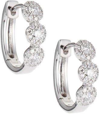 Neiman Marcus Diamonds 14k White Gold Diamond Halo Huggie Earrings