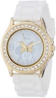 Disney Women's MN1053 Rhinestone Accent Minnie Mouse White Rubber Strap Watch