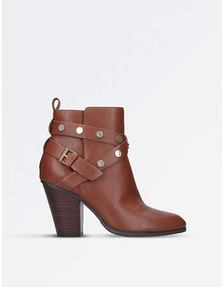 Nine West Ladies Brown Classic Harlyn Strap-Detail Leather Boots