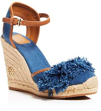 Tory Burch Shaw Denim Espadrille Wedge Sandals $250 thestylecure.com