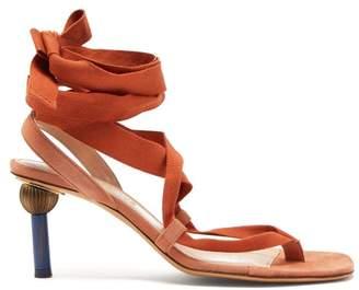 Jacquemus Capri Mismatched Heel Suede Sandals - Womens - Orange