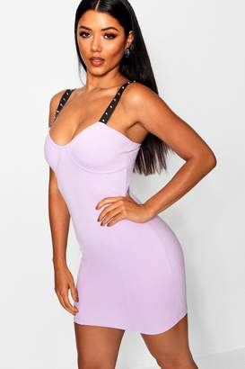 boohoo Studded Strap Bustier Mini Dress