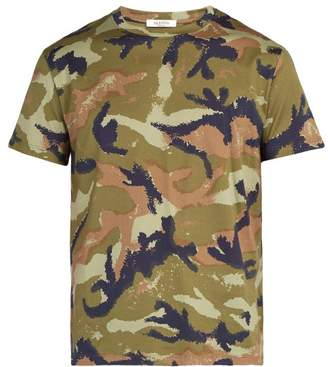 Valentino Camouflage Print Rockstud Cotton T Shirt - Mens - Green Multi