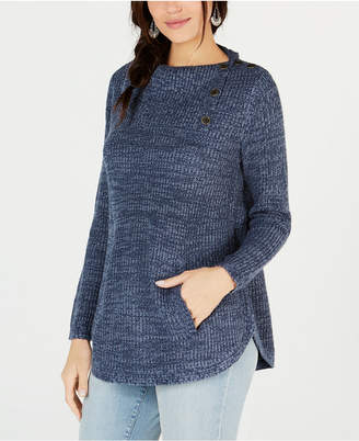 Style&Co. Style & Co Petite Envelope-Collar Kangaroo-Pocket Sweater