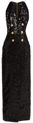 Balmain Double Breasted Sequinned Blazer Dress - Womens - Black