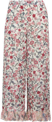 See by Chloé - Cropped Ruffled Floral-print Crepe De Chine Wide-leg Pants - Off-white $385 thestylecure.com