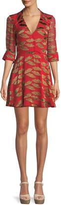 Alice + Olivia x Donald Robertson Catina Faux-Wrap Cheetah Lips Dress