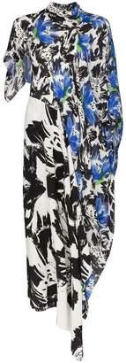 Roland Mouret Calhern floral print asymmetric tie dress