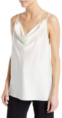 Halston Cowl-Neck Satin Camisole Top