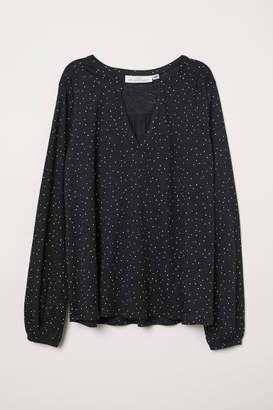 H&M V-neck Jersey Blouse - Black