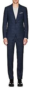 Pal Zileri MEN'S PLAID WOOL-BLEND TWO-BUTTON SUIT-NAVY SIZE 36 R