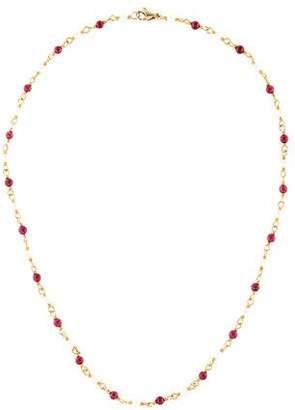 18K Pearl & Garnet Bead Strand Necklace