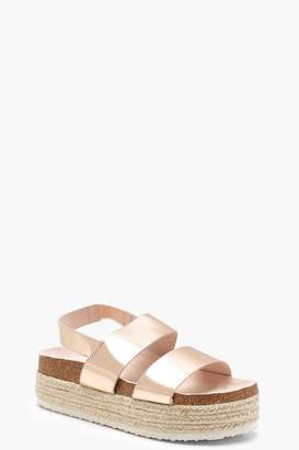 8c4772138df boohoo Espadrille 2 Strap Flatform Sandals