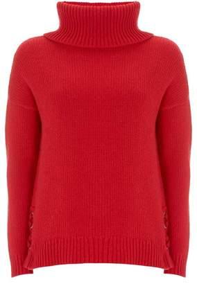 Mint Velvet Red Lace Up Side Cowl Knit