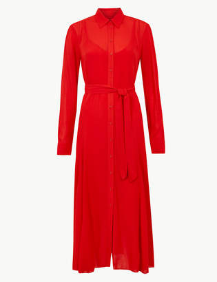 Marks and Spencer Long Sleeve Shirt Midi Dress