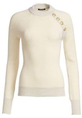 Balmain Buttoned Cashmere-Blend Pullover Sweater