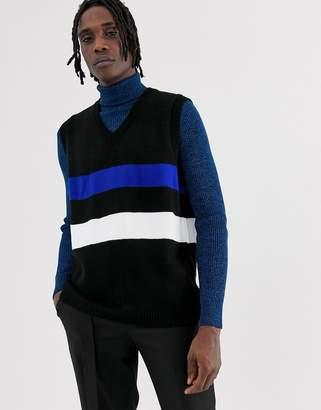 Asos Design DESIGN knitted vest with stripe design in black