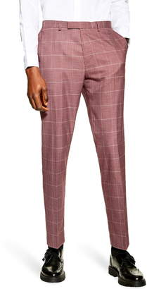 Topman Slim Fit Windowpane Suit Dress Pants