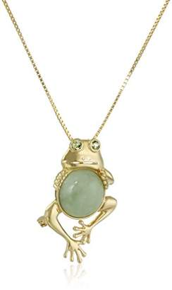 18k Gold Plated Sterling Silver Genuine Green Jade and Peridot Frog Pendant Necklace