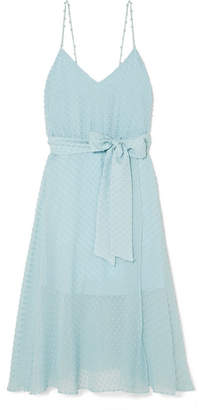 Alice + Olivia Mulan Devoré Silk And Cotton-blend Dress - Light blue