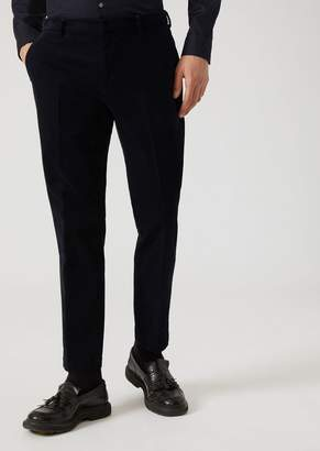 Emporio Armani Velvet Trousers With Diagonal Pattern And Centre Crease