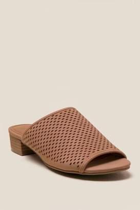 francesca's Cache Perforated Peep Toe Mule - Tan