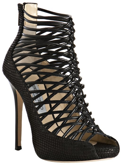 Jimmy Choo black knotted leather 'Quito' platform sandals