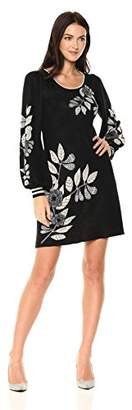 Max Studio MAXSTUDIO Women's Printed Balloon Sleeve Sweater Dress
