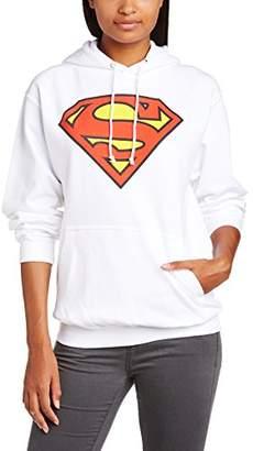 DC Comics Women's Official Superman Shield Hooded Crew Neck Long Sleeve Hoodie,(Manufacturer Size:Medium)