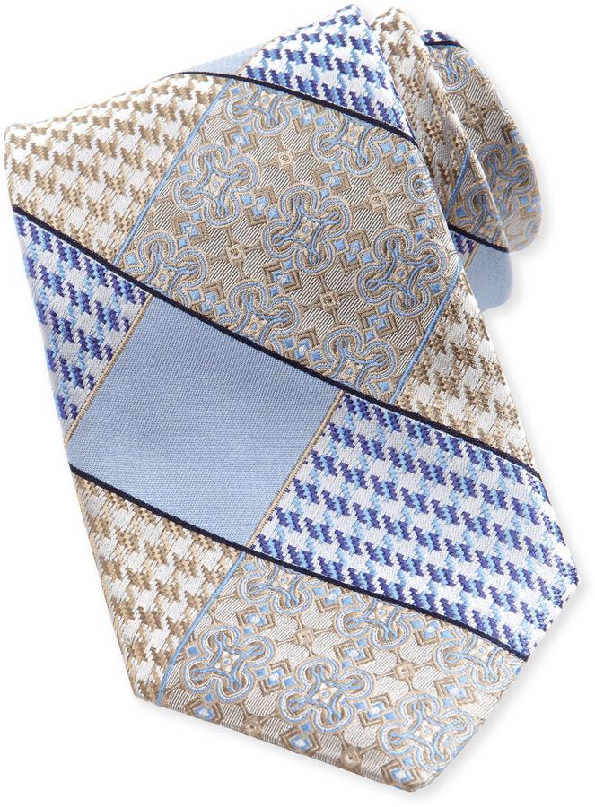 Robert Graham Houndstooth & Cross Silk Tie, Khaki
