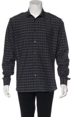 Christian Dior Plaid Woven Epaulet Shirt