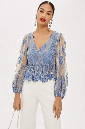 Topshop Two Tone Lace Peplum Top