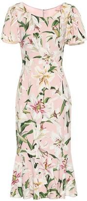 Dolce & Gabbana Floral stretch-crepe midi dress