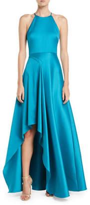 Badgley Mischka Mikado Halter Gown w/ Pickup Skirt