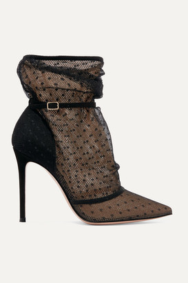 Gianvito Rossi 105 Polka-dot Tulle And Suede Ankle Boots - Black