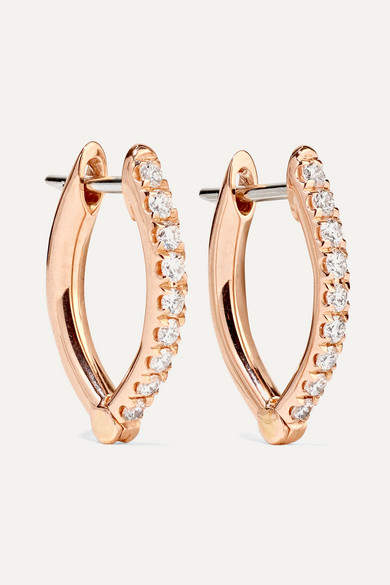 Melissa Kaye - Cristina 18-karat Rose Gold Diamond Earrings