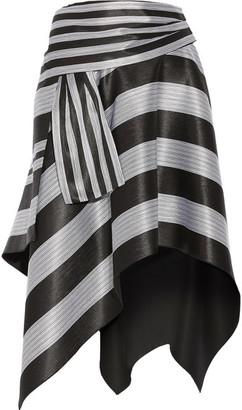 Proenza Schouler - Asymmetric Striped Jacquard Skirt - Black $1,590 thestylecure.com