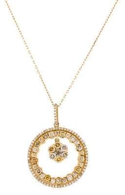 18K Diamond Flower Medallion Pendant Necklace