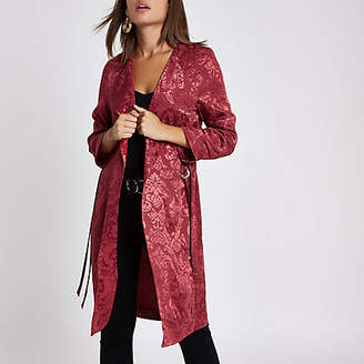River Island Pink jacquard print duster jacket