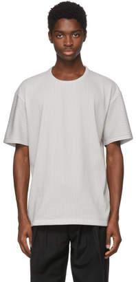 Issey Miyake Grey Tuck Knit T-Shirt