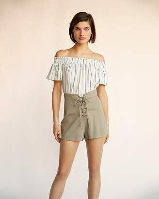 Express High Waisted Lace-Up Shorts