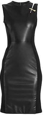Versace Women's Leather & Jersey Sleeveless Sheath Dress